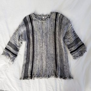 Margaret O'Leary fringe knit sweater black white